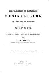 Bibliographischer und Thematischer Musikkatalog des Päpstlichen Kapellarchives im Vatikan zu Rom