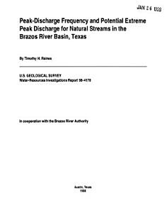 Peak discharge Frequency and Potential Extreme Peak Discharge for Natural Streams in the Brazos River Basin  Texas PDF