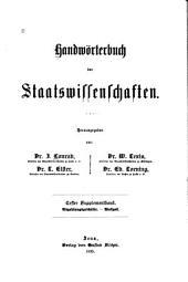 Handwörterbuch der Staatswissenschaften: 1.-2. Supplementband, Band 1