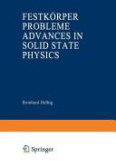 Advances in Solid State Physics   Festk  rperprobleme PDF