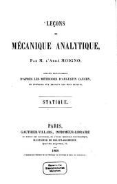 Lec̜ons de mécanique analytique