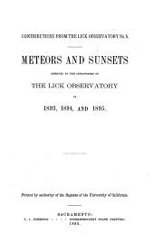 Meteors and Sunsets Observed by the Astronomers of the Lick Observatory in 1893, 1894, and 1895