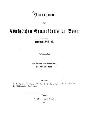 Programm des K  niglichen Gymnasiums zu Bonn PDF
