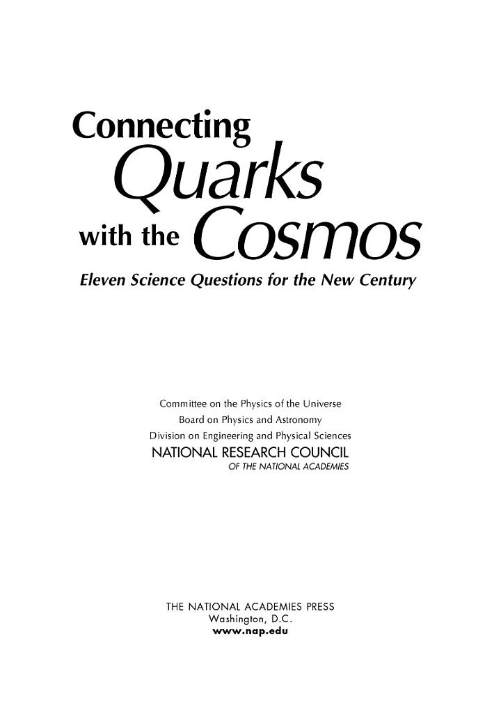 Connecting Quarks with the Cosmos