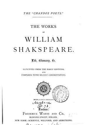 The works of William Shakspeare  life  glossary  c  repr  from the early eds  and compared with recent commentators