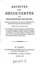 Archives des Decouvertes Et Des Inventions Nouvelles, Faites dans les Sciences, les Arts et les Manufactures, tant en France que dans les Pays etrangers: Volume7