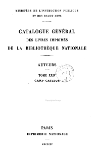 Catalogue g  n  ral des livres imprim  s de la Biblioth  que Nationale PDF