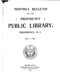 Monthly Bulletin for the Providence Public Library