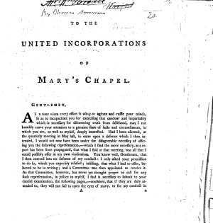 To the United Incorporations of Mary s Chapel