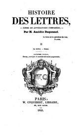 Histoire des lettres - cours de litteratures comparees- 2. ed. rev. corr. et augm: Volume1