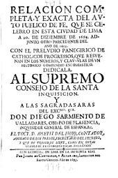 Relacion del auto publico de fé, que se celebro en esta ciudad de Lima a 20 de diz. 1619