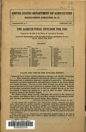 The Agricultural outlook for 1930