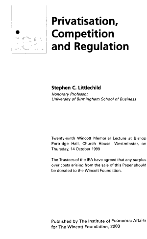 Privatisation  Competition and Regulation PDF
