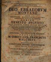 Dissertatio de Deo Ebraeorum montano