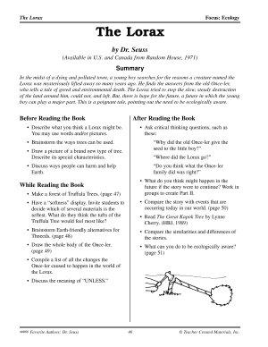 Dr  Seuss Literature Activities  The Lorax