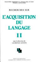 Recherches sur l acquisition du langage PDF
