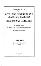 Classification of Operating Revenues and Operating Expenses of Sleeping Car Companies as Prescribed by the Interstate Commerce Commission in Accordance with Section 20 of the Act to Regulate Commerce