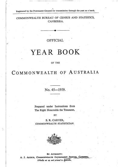 Official Year Book of the Commonwealth of Australia No  45   1959 PDF
