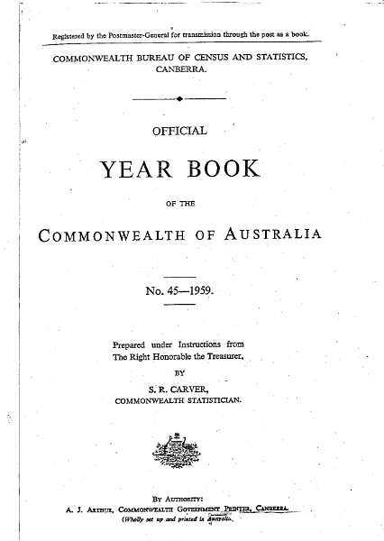 Official Year Book of the Commonwealth of Australia No. 45 - 1959