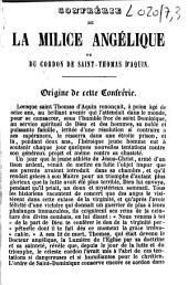 Confrérie de la milice angélique ou du cordon de Saint-Thomas d'Aquin: origine de cette confrérie