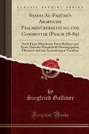 Saadia Al-Fajjûmi's Arabische Psalmenübersetzung und Commentar (Psalm 78-89)