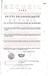 Recueil tiré des procédures civiles faites en l'officialité de Paris es autres officialités du royaume