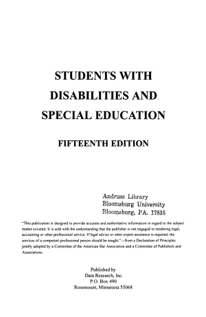 Students with Disabilities and Special Education