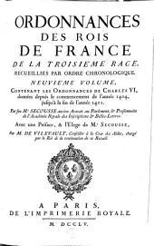 Ordonnances des roys de France de la troisième race, recueillies par ordre chronologique: Volume9