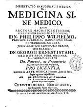 Dissertatio inauguralis medica de medicina sine medico