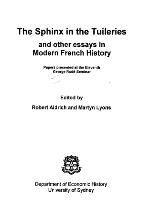 The Sphinx in the Tuileries and Other Essays in Modern French History PDF