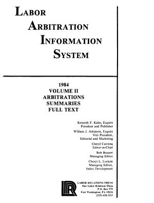 Labor Arbitration Information System PDF