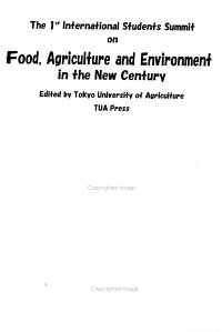 The 1st International Students Summit on Food  Agriculture  and Environment in the New Century
