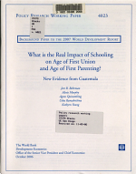 What is the Real Impact of Schooling on Age of First Union and Age of First Parenting  PDF