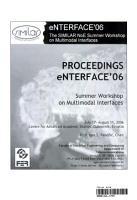 Proceedings ENTERFACE 2006 PDF