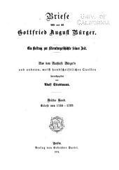 Briefe von und an Gottfried August Bürger: Bd. Briefe von 1780-1789