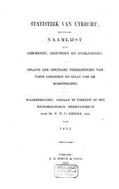 Statistiek van Utrecht, bevattende: naamlijst der geborenen, gehuwden en overledenen... waarnemingen gedaan op het Meteorologisch Observatorium ...: Volume 5