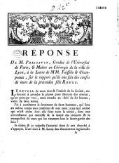 Réponse de M. Pressavin... à la Lettre de MM. Faissole et Champeaux, sur le rapport qu'ils ont fait des causes de la mort de la prétendue fille Rouge [avec le Rapport]