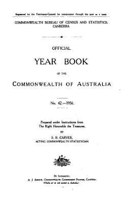 Official Year Book of the Commonwealth of Australia No  42   1956 PDF