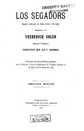 Los Segadors: drama historich en tres actes y en vers