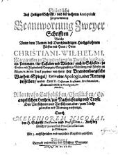 Gründliche auß Heiliger Schrifft und der wehrten Antiquität hergenommene Beantwortung zweyer Schriften ...: Wahrheit-Spiegel