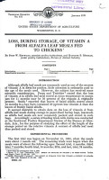 Loss  During Storage  of Vitamin A from Alfalfa Leaf Meals Fed to Chickens PDF