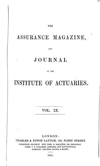 Journal of the Institute of Actuaries PDF