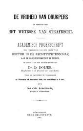 De vrijheid van drukpers in verband met het Wetboek van Strafrecht