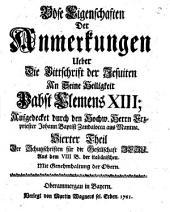 Böse Eigenschaften Der Anmerkungen Ueber Die Bittschrift der Jesuiten An Seine Heiligkeit Pabst Clemens XIII