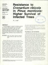 Resistance to Cronartium ribicola in Pinus monticola: higher survival of infected trees