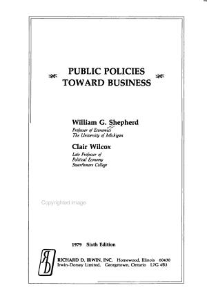 Public Policies Toward Business PDF