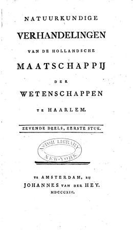 Natuurkundige verhandelingen van de Hollandsche Maatschappij der Wetenschappen te Haarlem PDF