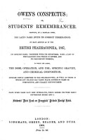 Owen s Conspectus  or  Student s Remembrancer  Showing  in a tabular form  the Latin name  with its correct termination  of each article as in the British Pharmacop  ia  1867  its English name  together with its synonymes      Blank ruled pages have been interleaved  etc PDF