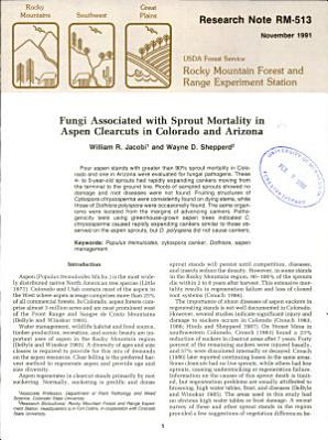 Fungi Associated with Sprout Mortality in Aspen Clearcuts in Colorado and Arizona