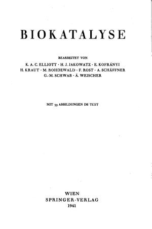 Handbuch der Katalyse  Biokatalyse